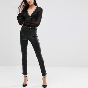 Agolde Roxanne hi rise skinny black leatherette